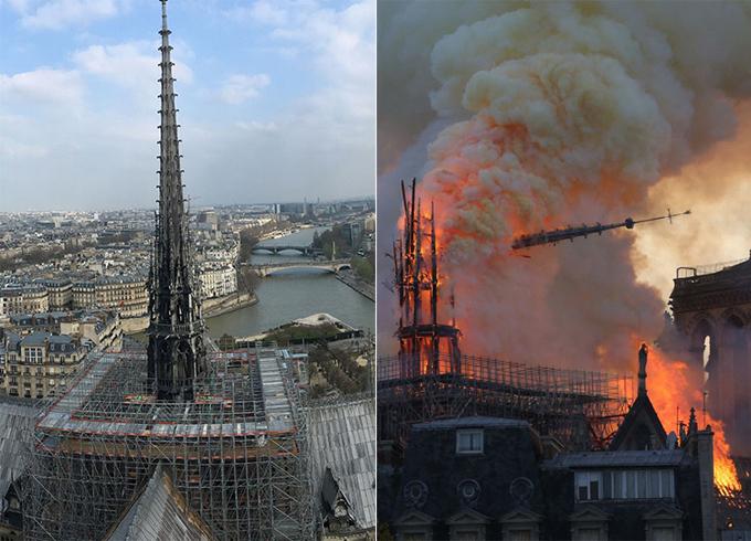 Khu vực tháp chuông đang được tu sửa trước đám cháy (trái) và đổ sập trước sự chứng kiến của người dân do hỏa hoạn (phải).
