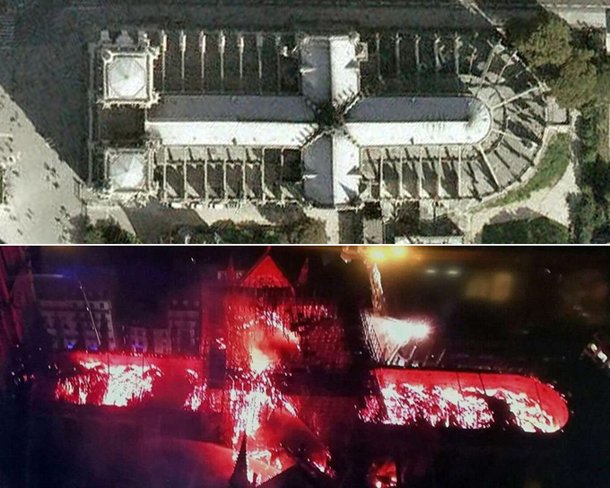 Tối 15/4, nhà thờ Đức Bà Paris, công trình tôn giáo lịch sử nổi tiếng của Pháp và châu Âu, bị phá hủy một phần do hỏa hoạn. Khoảng 400 lính cứu hỏa đã được huy động để dập lửa. Trong ảnh là khung cảnh nhà thờ trước và sau khi bị lửa nhấm chìm nhìn từ trên cao.