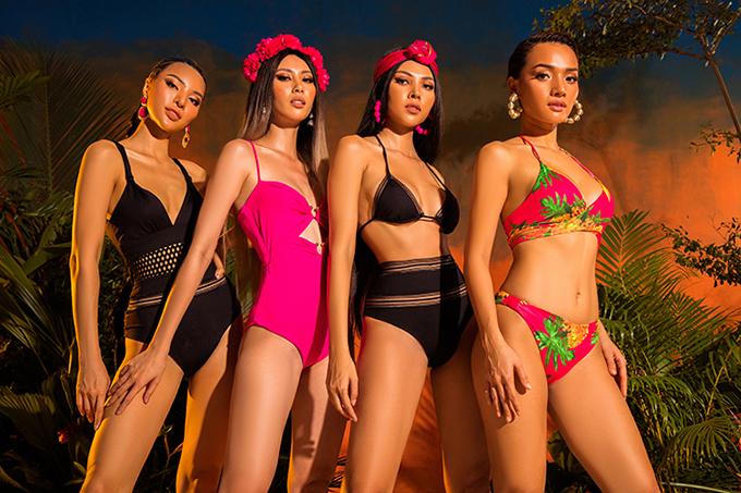 Ngoài các máy rực rỡ sắc màu và mang hơi thở biển cả, Katy Nguyễn còn dành tặng phái đẹp nhiều mẫu bikini kiểu dáng độc đáo.