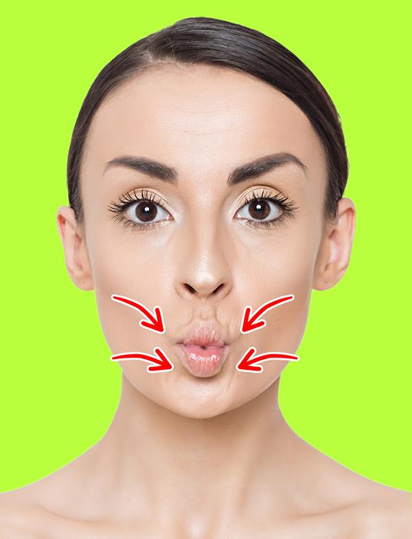 Chu miệng về phía trước, giữ trong 3 giây rồi thả lỏng tự nhiên. Lặp lại động tác 20 lần.