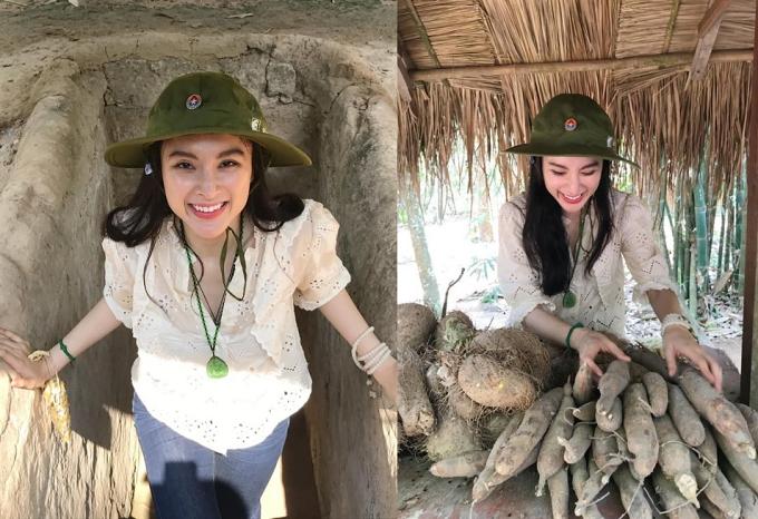 Angela Phương Trinh có những trải nghiệm thú vị tại khu di tích lịch sử địa đạo Củ Chi.