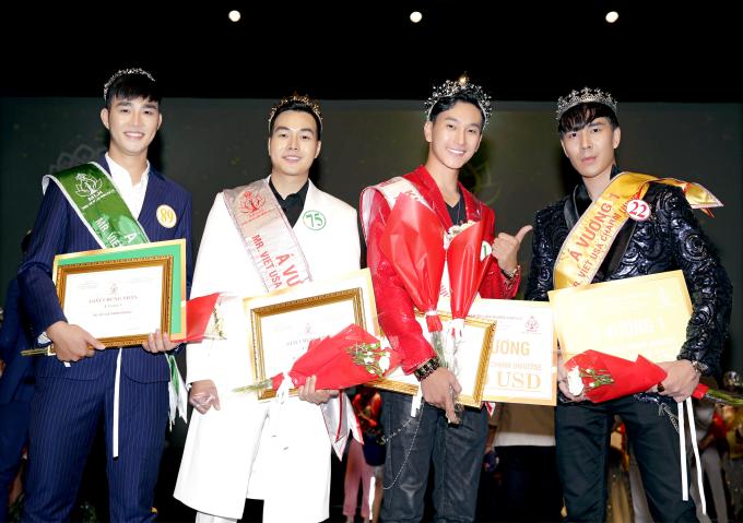 Top 4 thí sinh đoạt giải cao nhất ở bảng nam.