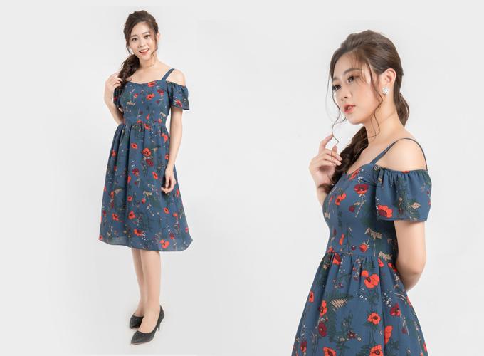 Được sáng tạo từ mẫu váy hai dây, mẫu đầm hoa khoét vai giúp các nàng khéo léo khoe bờ vai thon gầy song vẫn giữ sự kín đáo. Sản phẩm có giá gốc 1,05 triệu đồng, nay chỉ còn 850.000 đồng trên Store Ngôi Sao.