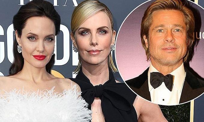 Charlize Theron (giữa) bị đồn thù hằn nhiều năm với Angelina Jolie và đang hẹn hò Brad Pitt.