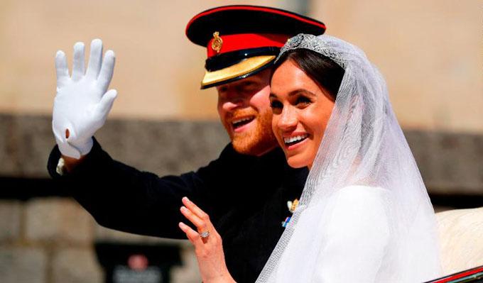 Hoàng tử Harry và công nương Meghan trong đám cưới hồi tháng 5/2018.