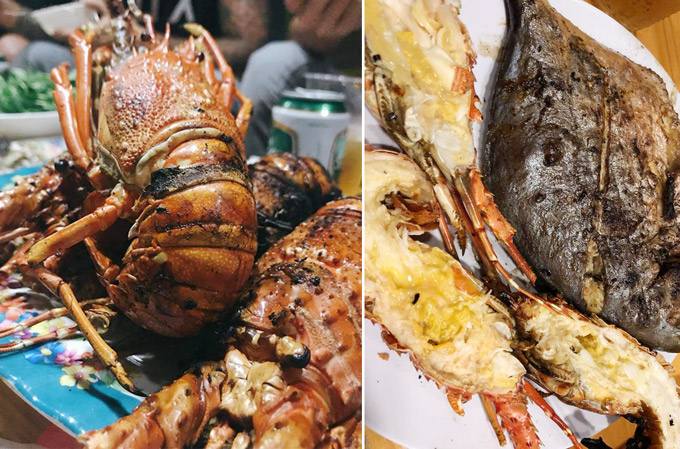 BBQ hải sản được nước trên bếp than ngay trên bờ biển.