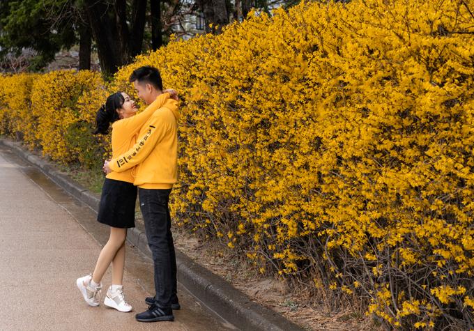 Vợ chồng Ốc Thanh Vân diện áo đôi tung tăng dạo chơi ở Hàn Quốc. Cả hai vừa kỷ niệm 11 năm ngày cưới và 20 năm bên nhau.