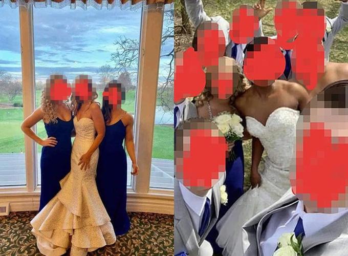 Hình bên trái là mẹ chồng chụp cùng phù dâu;hình bên phải là cô dâu chụp cùng phù dâu, phù rể.