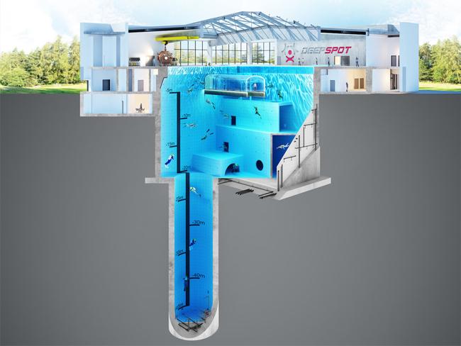 HÌnh 3D mô phỏng độ sâu của bể bơi.