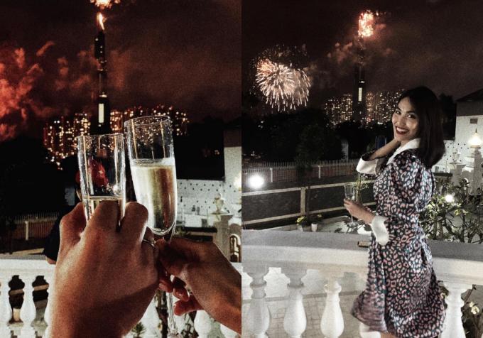Lan Khuê ngắm pháo hoa và đón mừng năm mới bên ông xã thiếu gia tại biệt thự.