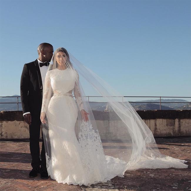 Kim và Kanye trong đám cưới năm 2014.