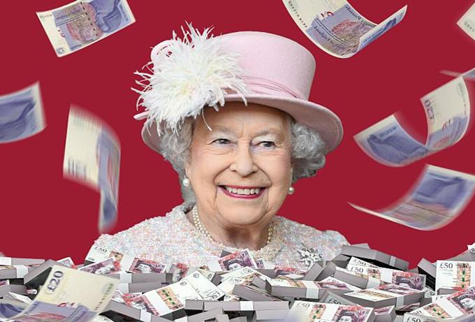 Nữ hoàng Anh có 500 triệu USD. Đồ họa:Forbes.