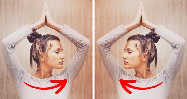 Hai tay đưa lên trên đầu, lòng bàn tay úp vào nhau. Nghiêng đầu lần lượt sang hai bên 8 lần.