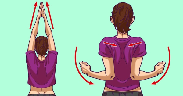 Đứng thẳng lưng, đưa hai tay lên trời, duỗi thẳng, lòng bàn tay úp vào nhau. Hạ thấp khuỷu tay, đưa sâu về phía sau lưng