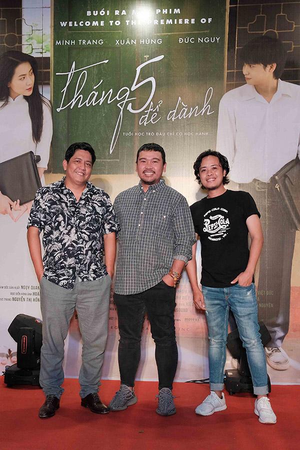 Đạo diễn Đức Thịnh, nhà sản xuất Lý Minh Thắng và đạo diễn Lê Thiện Viễn (từ trái qua) tới cổ vũ các nhà làm phim trẻ.