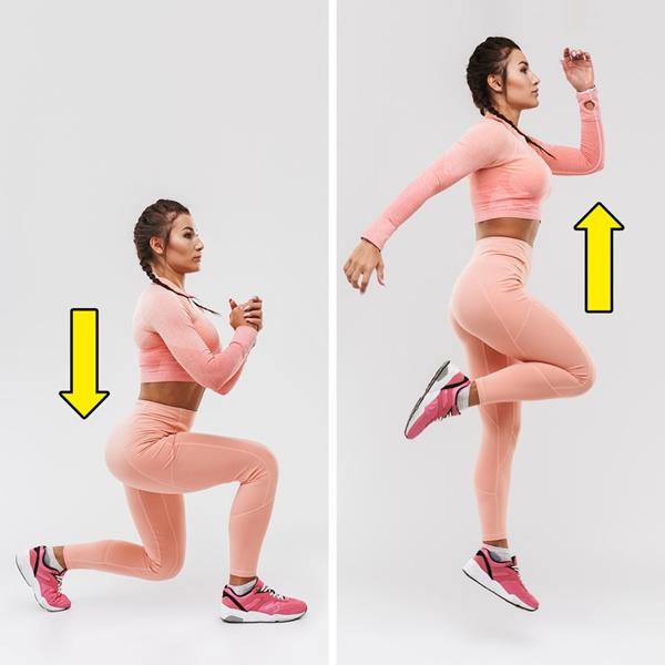 Động tác lunge kết hợp bật nhảy Sự kết hợp hai động tác này vừa siết chặt cơ bụng, vừa giúp làm săn chắc mông, hông và bắp đùi.Đứng thẳng, hai tay nắm để trước ngực. Bước một chân lên phía trước, hạ thấp trọng tâm cho đến khi đầu gối trước vuông góc, giữ lưng thẳng. Rút chân sau lên, bật nhảy, vung tay để giữ thăng bằng. Sau khi tiếp đất nhẹ nhàng, lặp lại động tác 10 lần mỗi bên x 3 hiệp.