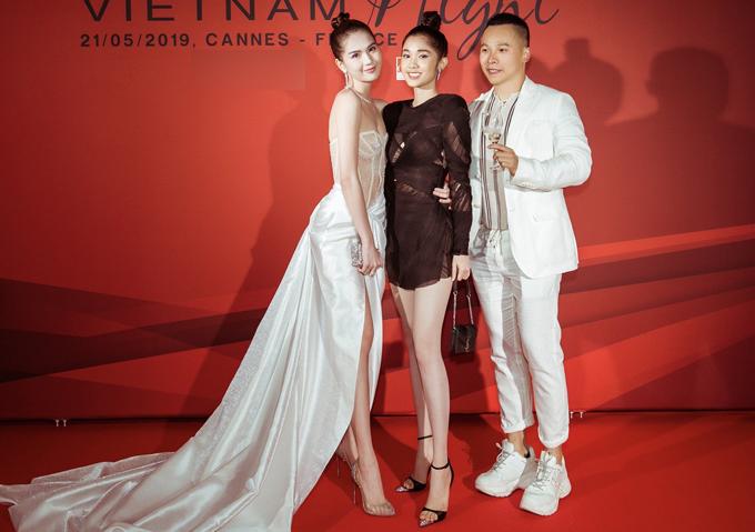 Sự kiện do ông bầu Vũ Khắc Tiệp tổ chức còn có diễn viên Quỳnh Hương (giữa) tham dự.