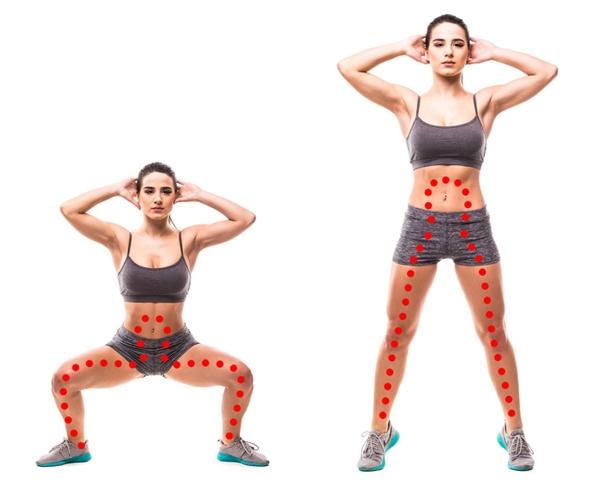 Squat mở rộng gối Đây là động tác Beyonce tạo ra để tăng cường hiệu quả của bài tập squat, giúp giảm mỡ thừa ở đùi trong và tăng kích thước cho vòng ba. Đứng thẳng, hai chân rộng bằng hai vai, bàn chân mở rộng, hai tay để sau gáy. Hạ thấp trọng tâm sao cho đầu gối vuông góc, lưng thẳng, mông đưa về phía sau. Giữ trong 3 giây rồi đứng thẳng dậy, kiễng chân. Lặp lại động tác 20 lần.