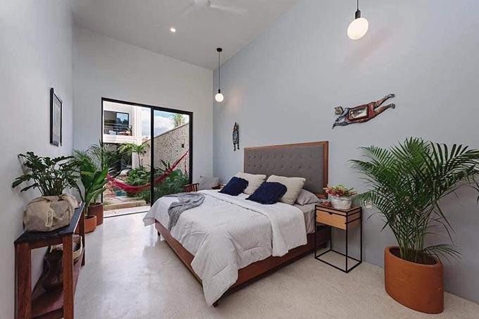 Phòng ngủ chính được thiết kế đơn giản nhưng có nhiều chậu cây, đem lại cảm giác thư giãn, gần gũi với thiên nhiên.