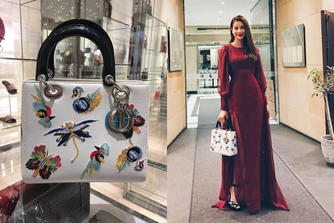 Một mẫu túi Dior thêu họa tiết tỉ mỉ được Phạm Hương đưa vào danh sách thanh lý lần này.