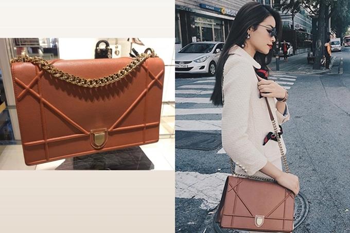 Chiếc túi Diorama cũng là dòng sản phẩm mà Hoa hậu Hoàn vũ Việt Nam yêu thích, giá trị hơn 70 triệu đồng.
