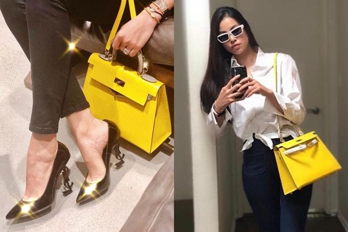 Ngoài Dior, Phạm Hương cũng yêu thích thương hiệu Hermes, trong đó chiếc túi dòng Kelly màu vàng được cô sử dụng đều đặn.