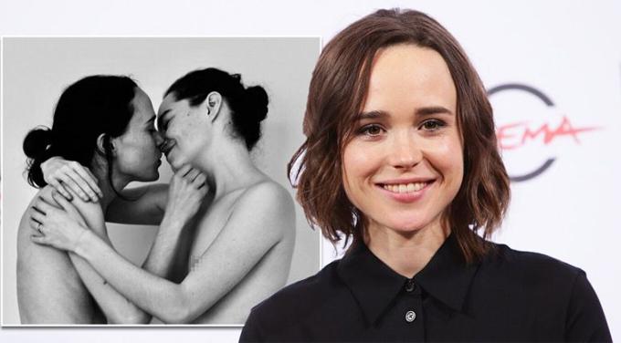 Nữ diễn viên X-Men Tại lễ ra mắt phim Tales of the City hôm 3/6, nữ diễn viên Ellen Page (bên trái) tình tứ hôn bạn đời - biên đạo múa Emma Portner. Một ngày trước đó, ngôi sao phim X-Men đăng