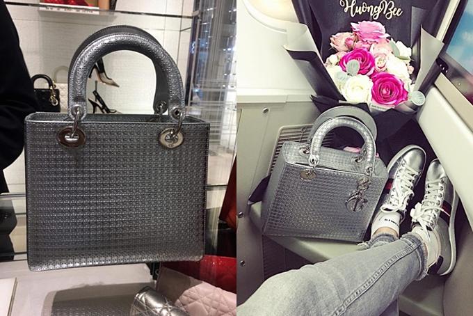 Sở hữu quá nhiều túi hiệu không dùng hết, Phạm Hương bày tỏ mong muốn thanh lý. Nổi bật trong số đó là một chiếc túi Dior Lady màu bạc được người đẹp thường xuyên sử dụng cho công việc. Đây là dòng túi nổi tiếng của Dior, được chế tácbởi những người thợ thủ công lành nghề, giá dao dộng gần 100 triệu đồng.