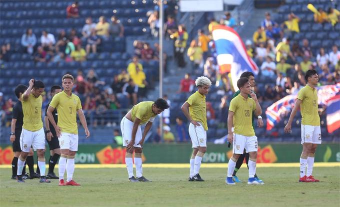 Tuyển Thái Lan sau trận thua Ấn Độ.