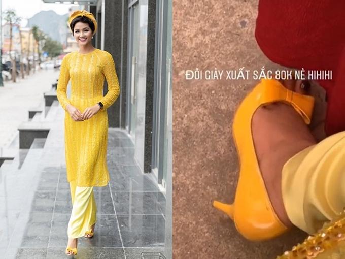 Nga cả đi sự kiện, cô không ngại mang giày cũ, giá chỉ 80.000 đồng. Với HHen, quan trọng là sự phù hợp, thoải mái chứ không nằm ở giá tiền hay hàng hiệu.