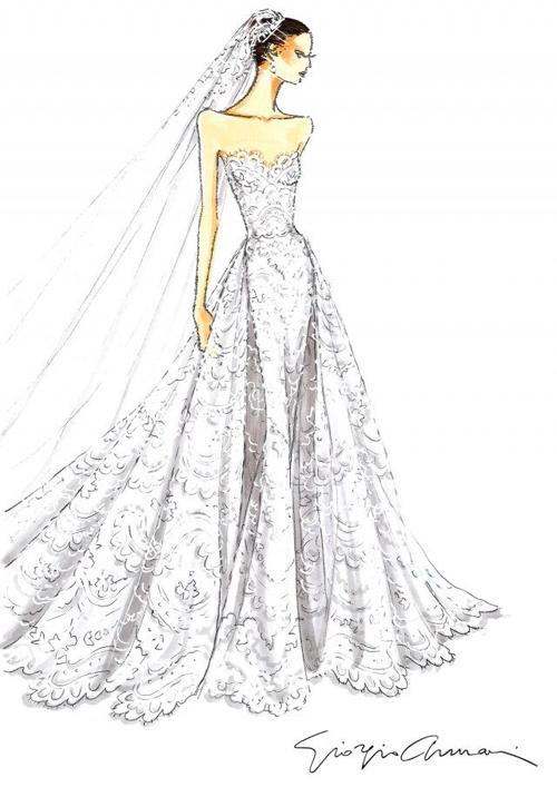 Bộ đầm đầu tiên mà cô dâu mặc mang phom dáng cổ điển với thiết kế đính renquây cúp ngực trái tim, được chiết eo cao giúp làm lộ xương quai xanh gợi cảm, thân hình đồng hồ cát của cô dâu.