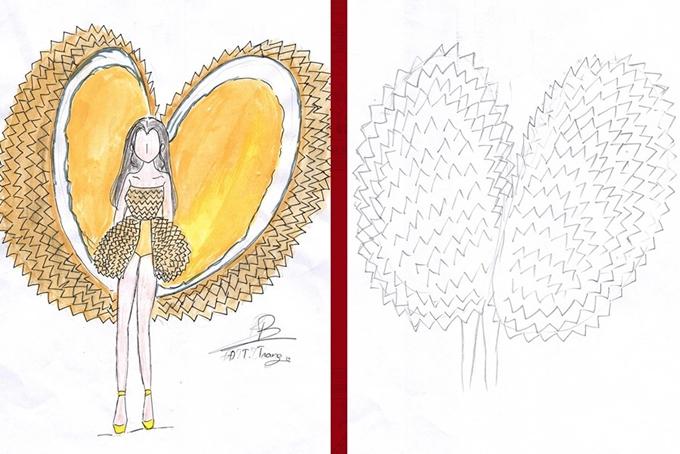 Sầu riêng cũng trở thành đề tài thực hiện trang phục dân tộc cho Hoàng Thùy thi Hoa hậu Hoàn vũ.