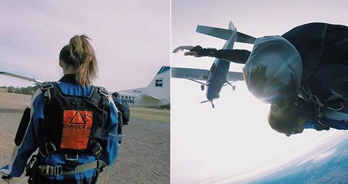 Chứng tỏ mình là một tín đồ của những trò mạo hiểm, Ngô Thiên Ngữ còn có một sở thích khác là bộ môn nhảy dù. Người đẹp sẵn sàng thả mình từ một chiếc máy bay đang ở độ cao hàng trăm mét xuống, cùng với một huấn luyện viên chuyên nghiệp, khi ở độ cao thích hợp, chiếc dù sẽ được bung ra. Nói về trải nghiệm ú tim này của mình ở bãi biển Bondi (Australia), cô chia sẻ: Tôi nghĩ rằng mình đã thực sự bay giữa bầu trời.