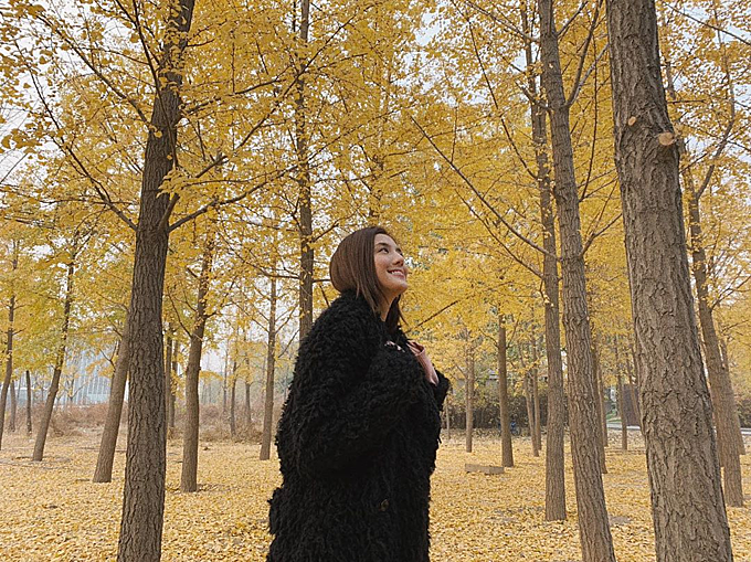 Mùa thu lá vàng ở Bắc Kinh (Trung Quốc) thơ mộng chẳng kém ở Hàn Quốc, Nhật Bản hay trời Âu. Người đẹp họ Ngô quê gốc ở tỉnh Chiết Giang, cô sở hữu nét đẹp lai Tây nhưng vẫn giữ nhiều nét đẹp của các mỹ nhân Trung Quốc truyền thống