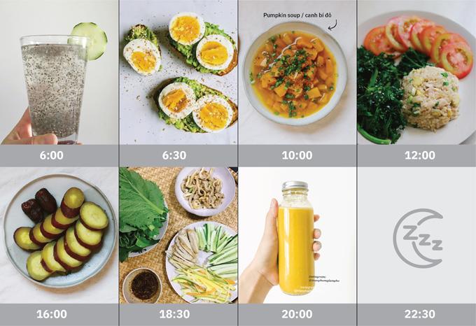 Các bữa ăn trong ngày của Giang Hà luôn có rau xanh.