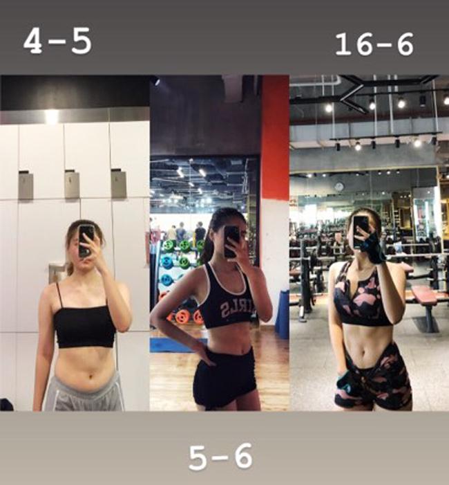 Cơ thể của Phương Thảo có sự chuyển biến rõ rệt sau hơn một tháng ăn kiêng, tập luyện.