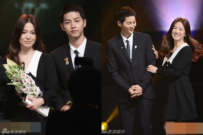 Cuối năm 2016, cặp đôi cùng được vinh danh tạiLễ trao giải Văn hóa - Nghệ thuật Hàn Quốc. Trên sân khấu, hai người trò chuyện vui vẻ, Song Hye Kyo thoải mái khoác tay Song Joong Ki. Trước sự ghép đôi nhiệt tình của người hâm mộ, Song Hye Kyo hài hước bảo, cô chỉ là chị đẹp mua cơm ngon cho Song Joong Ki mà thôi.