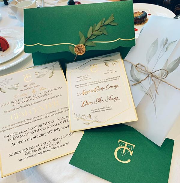 Thiệp mời đám cưới của Cường Đôla - Đàm Thu Trang.