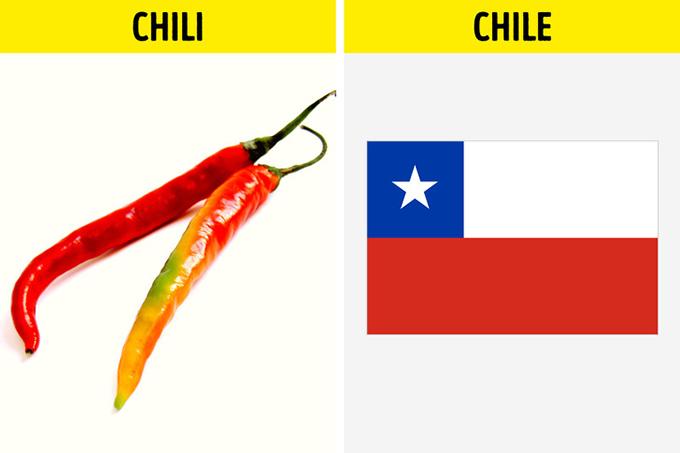 Quả ớt được đặt tên theo nước ChileDo cách đọc khá giống nhau nên người ta thường nghĩ rằng chili (quả ớt) và Chile có liên quan tới nhau. Cụ thể là quả ớt được đặt tên theo nước Chile. Nhưng thật ra, tên gọi này do người Aztec cổ sống ở Mexico nghĩ ra. Khu vực này lại cách rất xa Chile nên hoàn toàn không có sự liên quan.