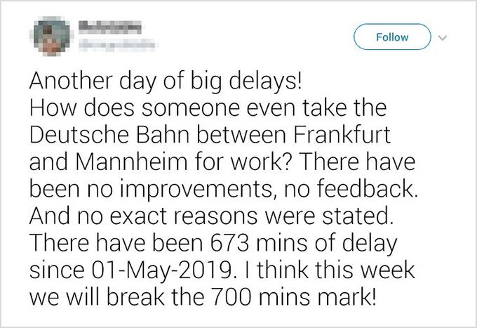 Người Đức luôn đúng giờNước Đức nổi tiếng bởi sự quy củ và chỉn chu. Đúng giờ cũng là một nét văn hoá rất Đức. Nhưng ngày nay, truyền thống tốt đẹp này dường như không còn nữa. Có tới 1/3 các chuyến tàu ở Đức đều trễ hơn giờ dự kiến. Rất nhiều dự án chậm deadline hoặc làm không đúng yêu cầu.