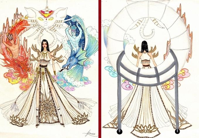 Bàn thờ lọt top 18 trang phục dân tộc cho Hoàng Thùy thi Miss Universe
