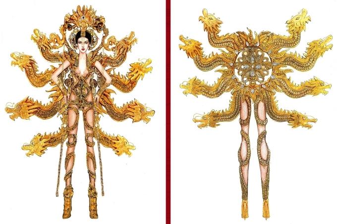 Bàn thờ lọt top 18 trang phục dân tộc cho Hoàng Thùy thi Miss Universe - 8