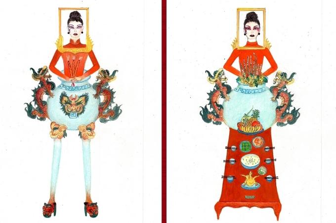 Bàn thờ lọt top 18 trang phục dân tộc cho Hoàng Thùy thi Miss Universe - 1