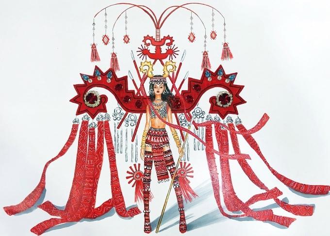 Top 18 trang phục dân tộc cho Hoàng Thùy thi Miss Universe - 7