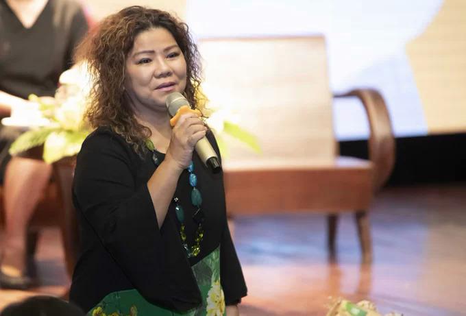NSND Thanh Hoa trong buổi ra mắt sản phẩm âm nhạc của Đinh Hiền Anh hồi tháng 4/2019.