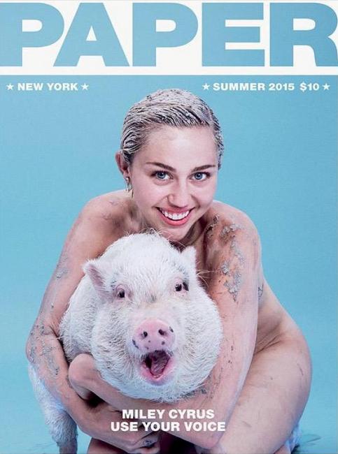 Miley và Pig Pig trên trang bìa tạp chí Paper hè 2015.