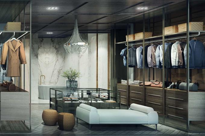 Phòng chứa đồ được thiết tinh tế, nơi chủ nhân lưu giữ quần áo, trang sức, túi xách...