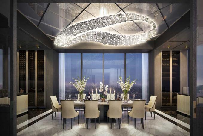 Phòng ăn được bày trí nội thất cao cấp, tinh tế với gam màu trắng chủ đạo.