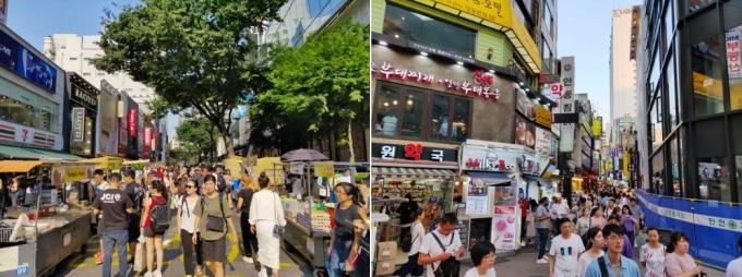 Từ 16h, con đường Myeongdong tại trung tâm Seoul trở thành phố đi bộ. Nơi đây tập trung nhiều quán cà phê, cửa hàng mỹ phẩm, thời trang đặc sắc nên được mệnh danh là thiên đường mua sắm - giải trí của Hàn Quốc. Thay vì lên xe buýt, tàu điện về thẳng nhà sau giờ học, giờ làm, nhiều người dân thủ đô Hàn Quốc chọn tìm đến khu chợ này để thư giãn, vui chơi cùng bạn bè, đồng nghiệp.  Dọc con đường tô điểm bằng nhiều bảng hiệu hiện đại, trang trí các cửa hàng bắt mắt. Kết hợp cùng dãy phố ẩm thực từ truyền thống đến hiện đại, đây là địa điểm chụp ảnh check-in quen thuộc của bạn trẻ Hàn Quốc lẫn du khách quốc tế.