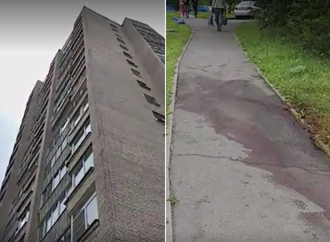 Cô gái tử vong tại chỗ sau khi ngã từ tầng 9 xuống đất. Ảnh: CEN.